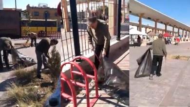 Photo of Jubilados se ponen a limpiar los andenes de autobuses; autoridades los tienen en abandono