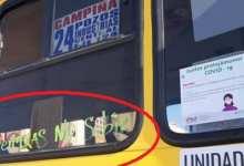 """Photo of """"Enfermeras no subir"""" se lee en un camión ruta 24 de SLP"""