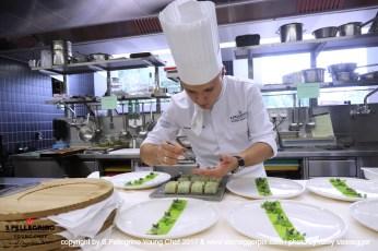 "ZURICH/SWITZERLAND, 04.09.2017 - 2nd place Swiss Selection: Filipe Fonseca Pinheiro, Sous Chef, 'Restaurant de L'Hotel de Ville de Crissier B. Violer' - Crissier, Switzerland. Gently cooked ""Swiss Arctic Char"" in a elegant vegetables coat.... Captured during the Swiss semifinals of S. Pellegrino Young Chef 2017 at Belvoir Park, Zurich/Switzerland. copyright by san pellegrino / photo by remy steinegger - www.steineggerpix.com"
