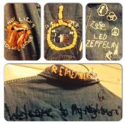 Some detail on this wild jacket #metropolis #metropolisvintage #metropolisnycvintage #alicecooper #rollingstones #ledzeppelin #kiss #heavymetal #classicrock #denimjacket
