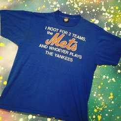METROPOLIS SPORTS TEE MANIA WEEK begins! Check out this great vintage METS/Anti-YANKEES T-Shirt we just got in! #metropolis #metropolisnycvintage #metropolisvintage #sportstshirts #tshirts #mets #yankees