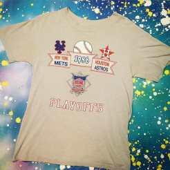 METROPOLIS SPORTS TEE MANIA WEEK begins! 1986 METS vs. Astros Playoff T-Shirt! #metropolis #metropolisnycvintage #metropolisvintage #sportstshirts #tshirts #mets #astros #baseball
