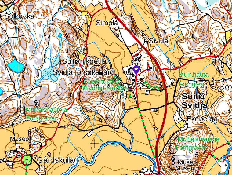 Suitia kartanon ympäristö kartta Siuntio Finland