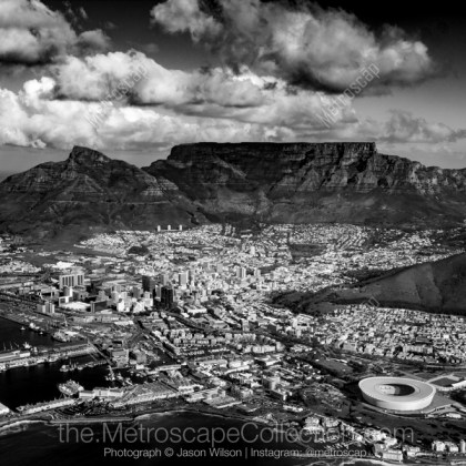 Black   White Photography Print of The Cape Town City Bowl and Table     Custom Sized Prints Only