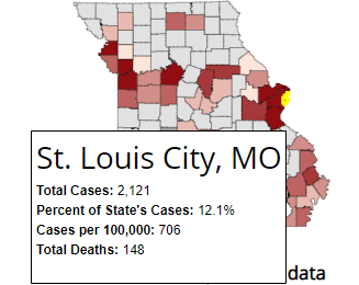 Missouri coronavirus cases up 7.7% in 7 days