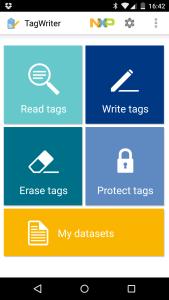 NFC TagWriterin päävalikko
