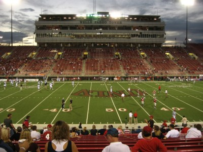 Sam Boyd, where there are more people on the field than in the stands.
