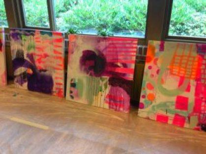 Malerier lavet på malekursus hos Mette Lindberg