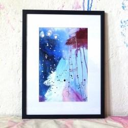 papirmaleri i blaa og lilla nuancer