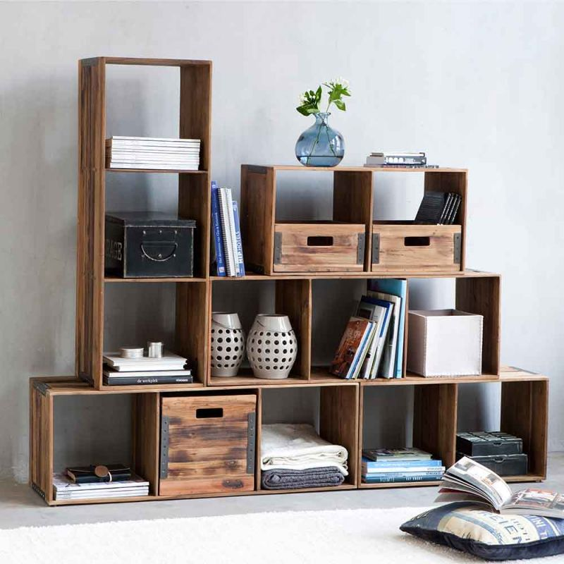 bibliotheque modulable teck recycle 103cm home 3 niches