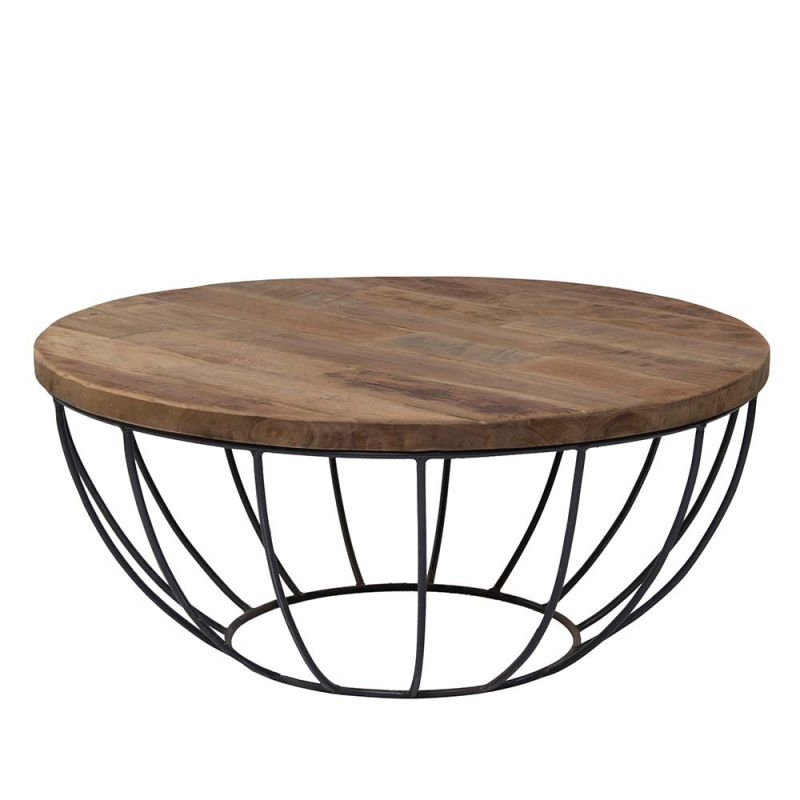 Table Basse Pied Metal Plateau Teck Massif Recycl 80cm