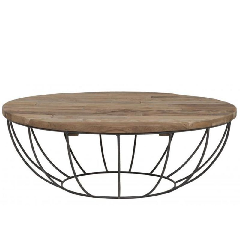 table basse teck et metal recycles home o100cm