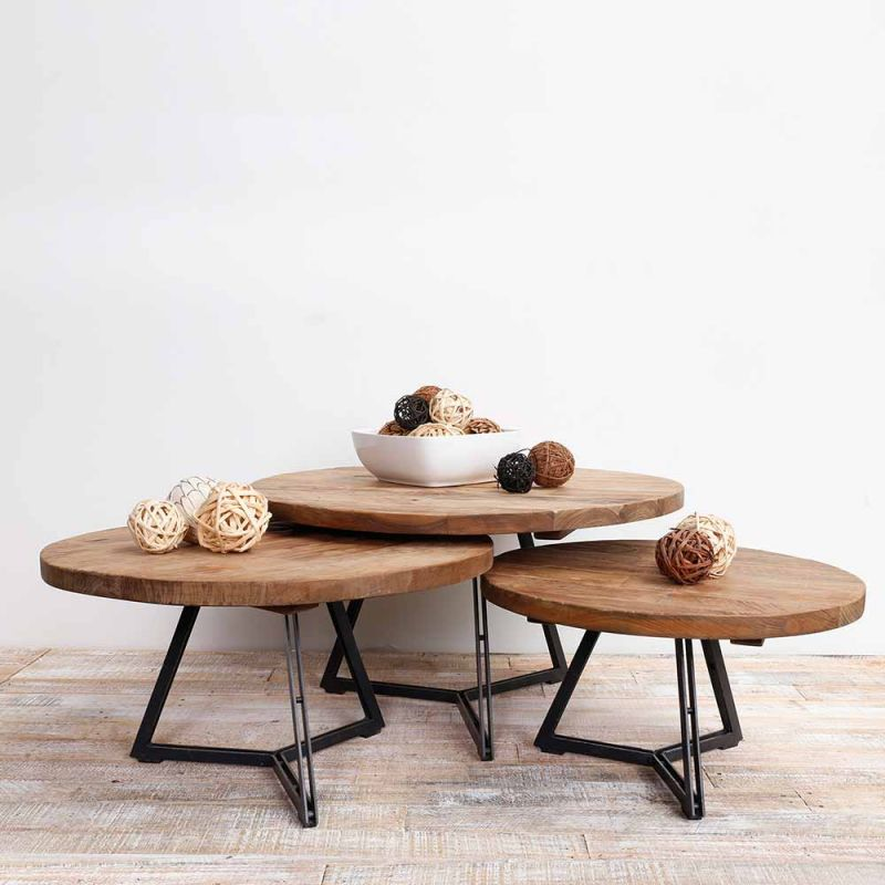 table basse teck et metal recycles o75cm home