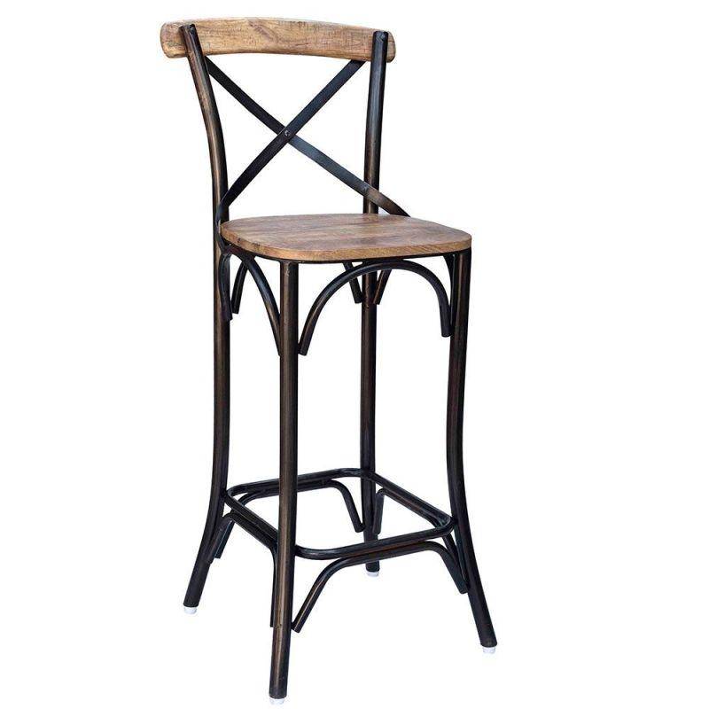chaise haute bois et metal iron 4 couleurs