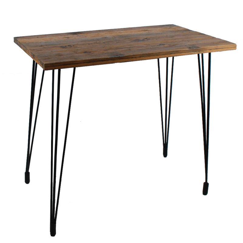 table haute industrielle bois recycle et metal 120cm