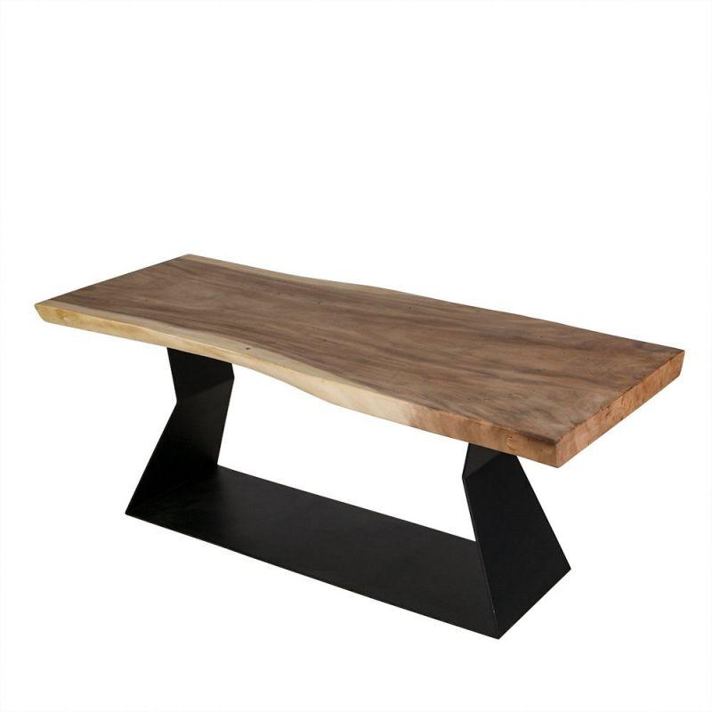 table tronc arbre bois en suar massif et pieds noir forme plate