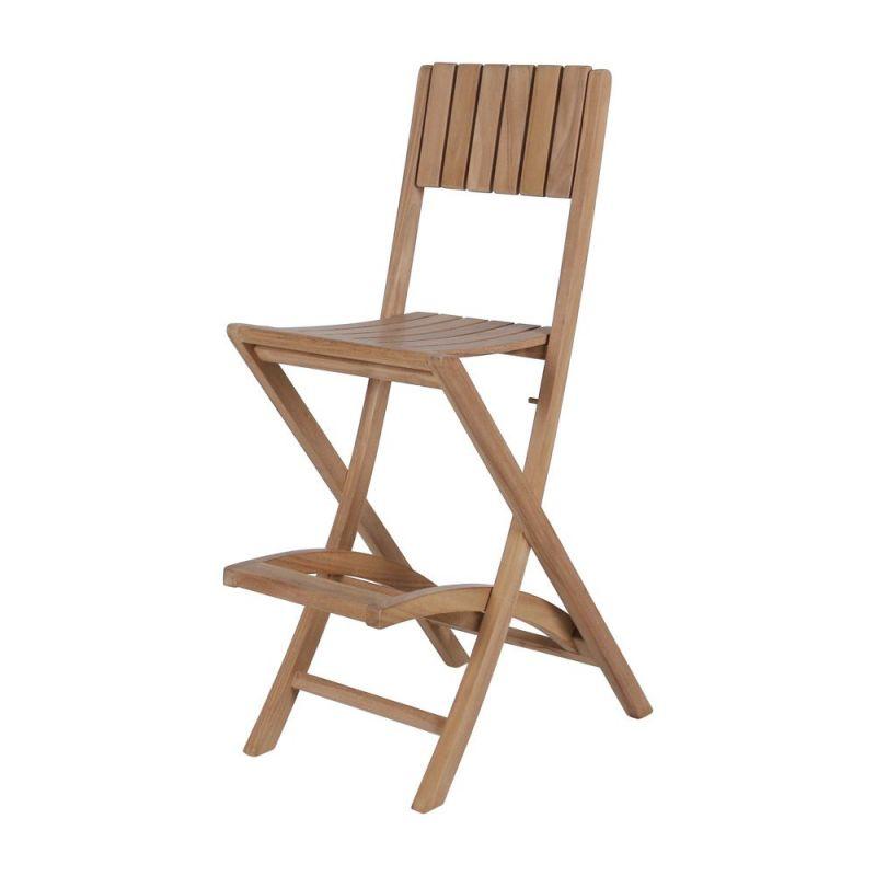 chaise haute bar bois pliante en teck massif pour jardin