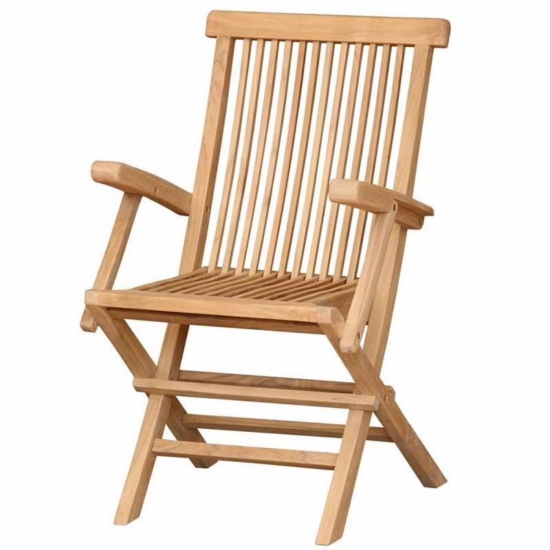fauteuil de table jardin pliant peigne teck jati 54cm