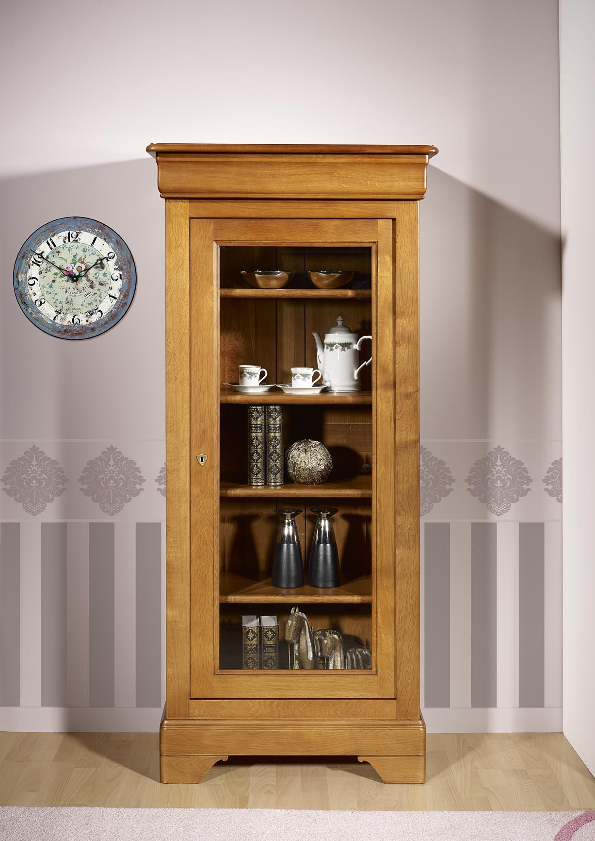 vitrine 1 porte angelo en chene massif de style louis philippe meuble en chene massif