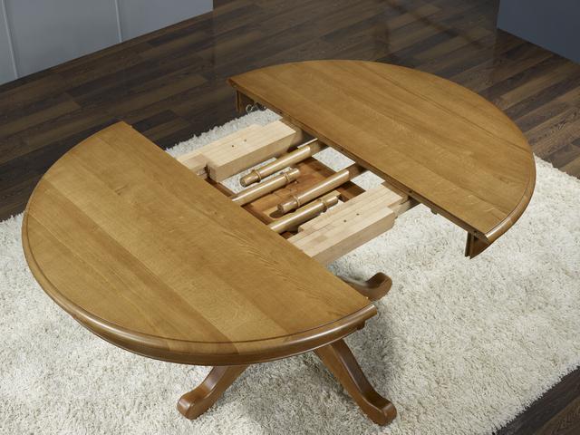 table ronde pieds central en chene de style louis philippe diametre 120 2 allonges de 40 cm meuble en chene massif