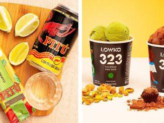 Imagem montada com foto do sorvete da Pitu e do novos sabor da Lowko