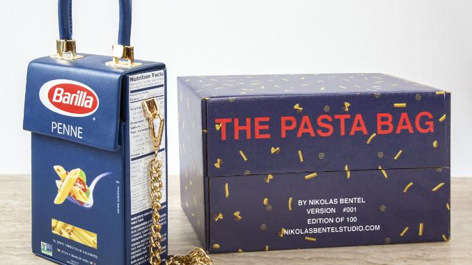 Designer americano Nik Bentel transforma caixa de macarrão em bolsa