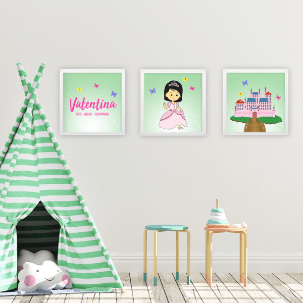 Kit 3 quadros princesas – verde