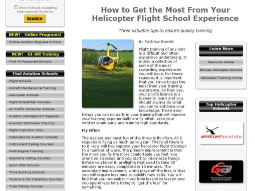 SEO Copy for Aviation Schools Online