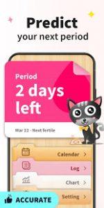 de hyperactieve interface van de app my calendar period tracker. rechtsboven zie je een zwarte kat, linksboven het aantal dagen voor je komende menstruatie
