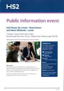 HS2 - Phase 2b - Meeting Mexborough Business Centre - College Road - Mexborough - S64 9JP - June 19th 2018 2pm to 8pm