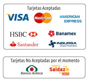 paga con tarjeta de crédito o débito, visa, master card o american express
