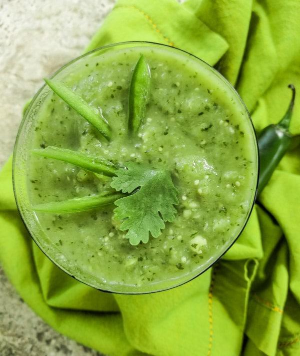 Avocado Salsa Verde served in a green glass.