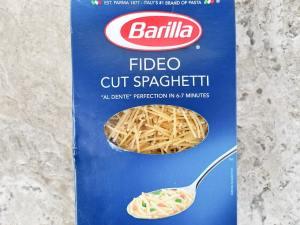 Fideo cut spaghetti, Barilla brand for sopa de fideo in the box.