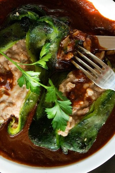 Bean Stuffed Poblano Peppers with Ancho-Guajillo Chile Sauce for #MeatlessMonday