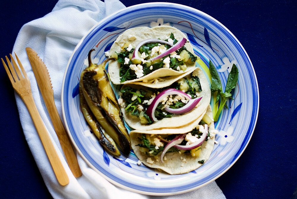 Potato and Spinach Tacos