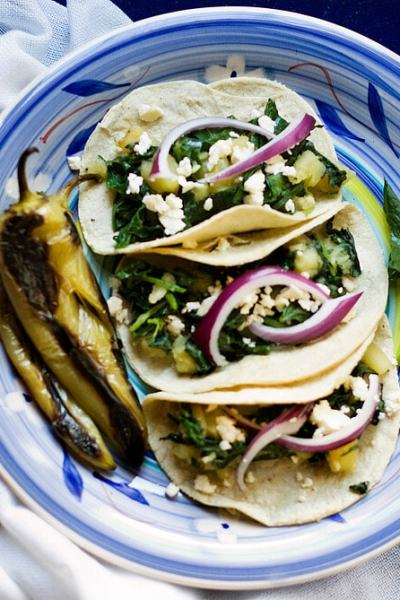 Potato and Spinach Tacos with Queso Fresco