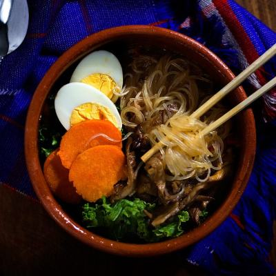 Veggie Loaded Miso and Sriracha Noodle Soup