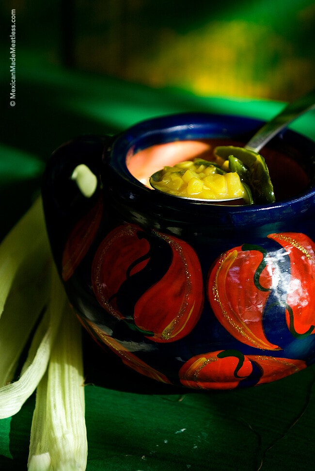 Curried Corn and Poblano Pepper Soup for a Mexican-Indian Fusion