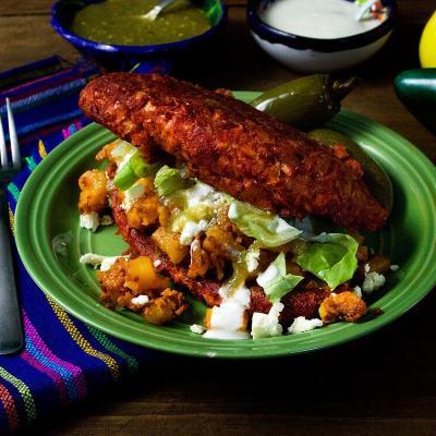 Potato and Chorizo Pambazos (Sandwiches Dipped in Red Salsa and Stuffed with Potato & Chorizo)