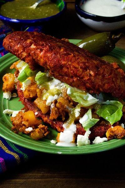 Potato and Chorizo Pambazos (Sandwiches Dipped in Red Salsa and Stuffed with Potato & Chorizo) | #vegetarian #soyrizo #veggiechorizo #mexicanfood #meatless #streetfood