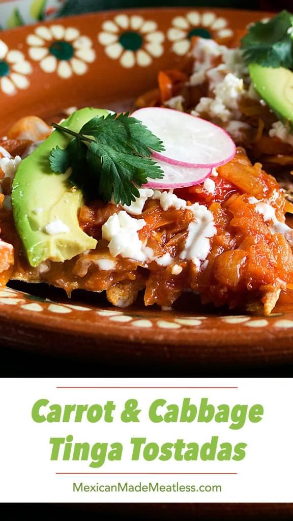 Carrot & Cabbage Tinga Tostadas | Tinga de zanahoria y repollo (col)