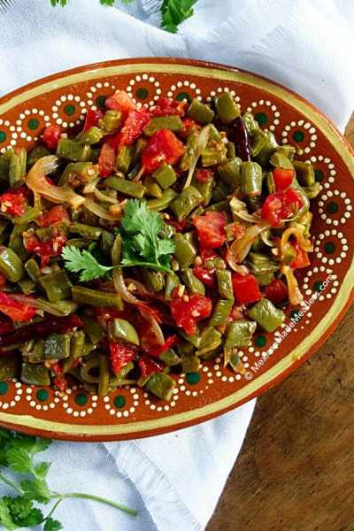 Sauteed Nopales with Arbol Chile, Onion and Tomato