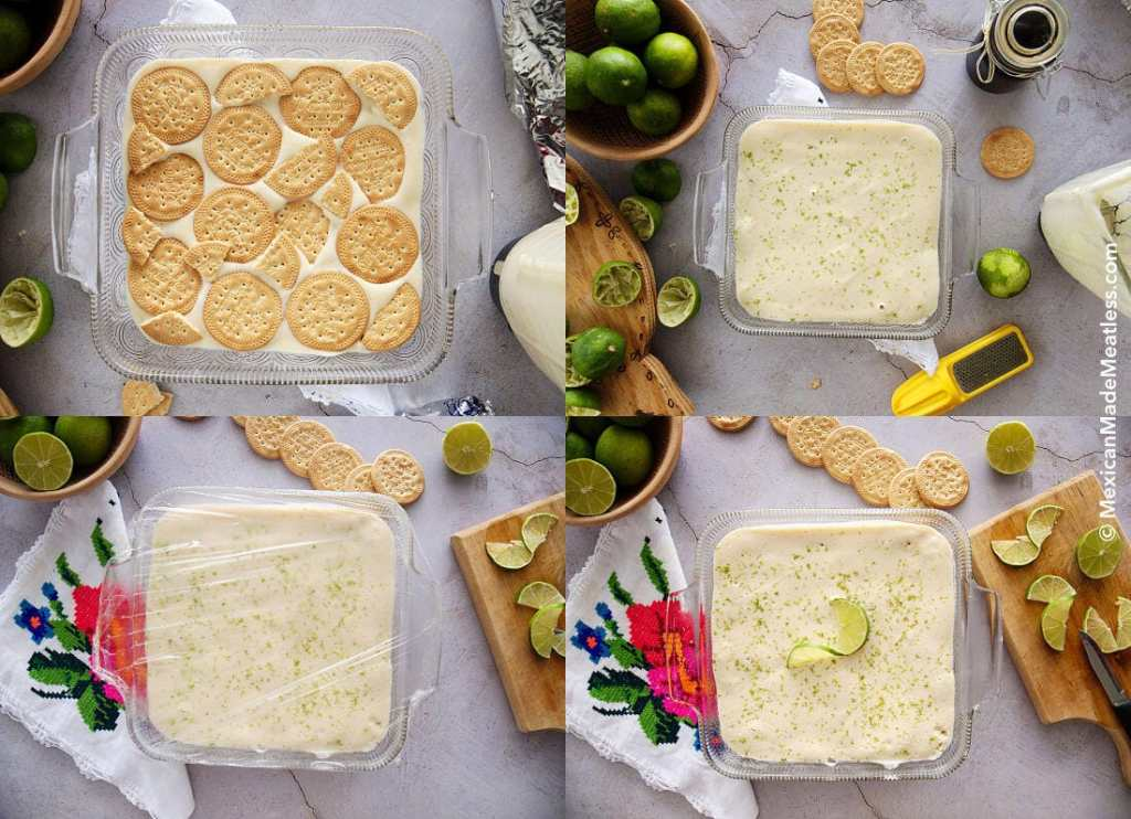 Steps involved in making Mexican Ice Box Lime Cake or Carlota de limon