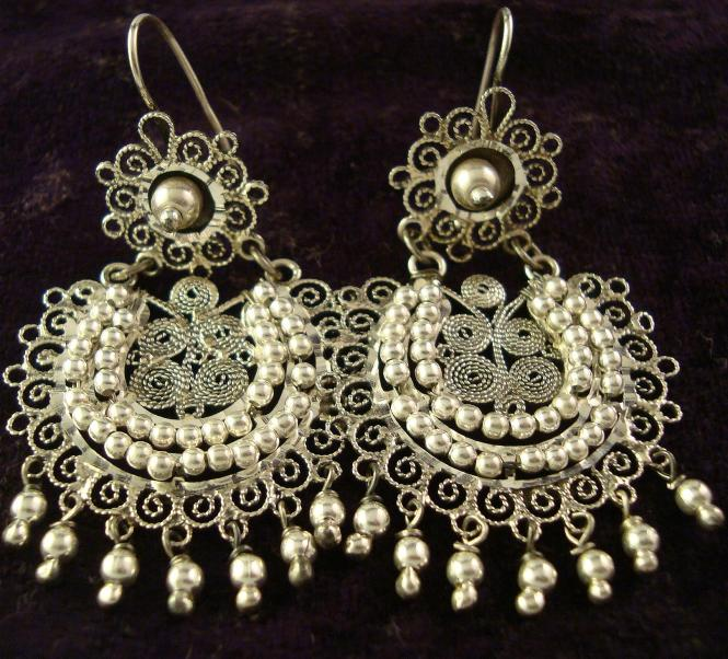 Silver Stone Darling Filigree Chandelier Earrings W Inlay Options