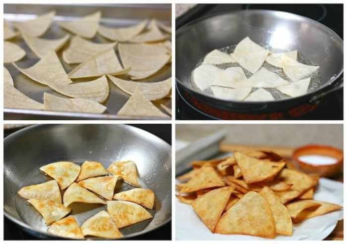 Totopos caseros, fritar las tortillas