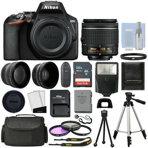 Cámara réflex digital Nikon D3500 negra + 3 lentes: lente VR de 18-55 mm + paquete de 32 GB