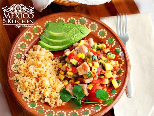 Pork and zucchini stew a mexican recipe