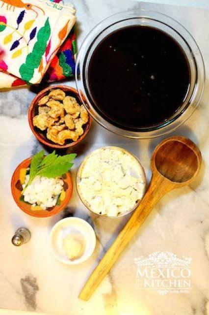 Masa balls and black bean soup corn dumplings