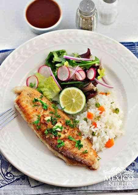Mexican Fish in garlic sauce al mojo de ajo