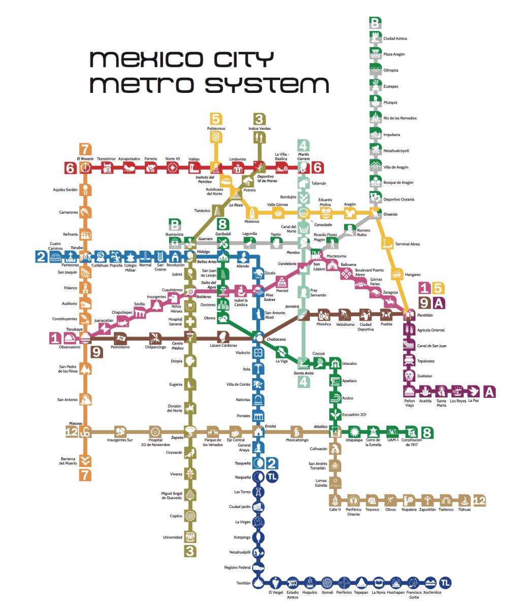 Mexco City Subway Map.Updated Metro Map Mexico Metro